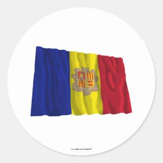 Andorra Waving Flag Classic Round Sticker