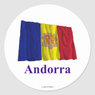 Andorra Waving Flag with Name Classic Round Sticker