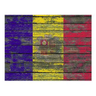 Andorran Flag on Rough Wood Boards Effect Postcard