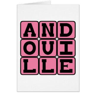 Andouille, salchicha deliciosa tarjeta de felicitación