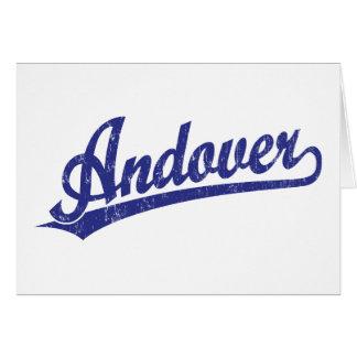 Andover script logo in blue card