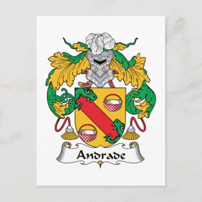 Andrade Family Crest Postcard by coatsofarms