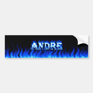 Andre blue fire and flames bumper sticker design