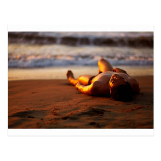 Andre Sleeping On Beach Sunset Postcard