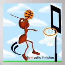 Andre The Ant Basketball Slam Dunk Poster