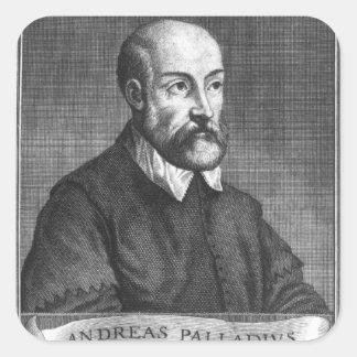 Andrea Palladio grabado por Francisco Calcomania Cuadradas Personalizadas