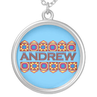 Andrew Abstract art southwestern over light blue Round Pendant Necklace