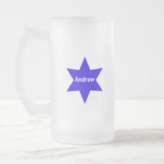 Andrew (blue star) frosted glass beer mug