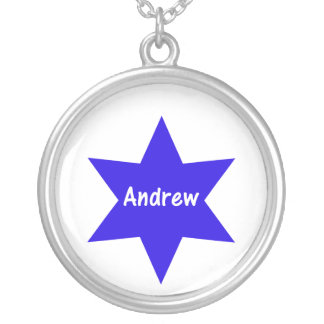 Andrew (blue star) round pendant necklace