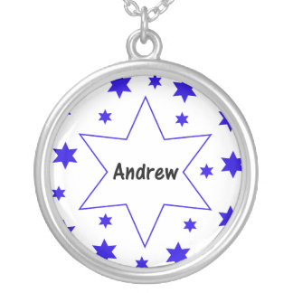Andrew (blue stars) round pendant necklace