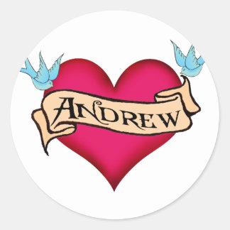 Andrew - camisetas y regalos de encargo del pegatina redonda