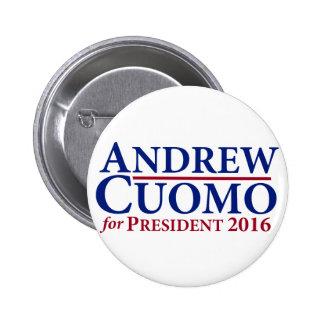 Andrew Cuomo para el presidente 2016 botón Pins