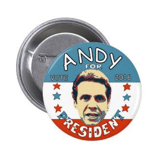 Andrew Cuomo para el presidente 2016 Pin Redondo De 2 Pulgadas
