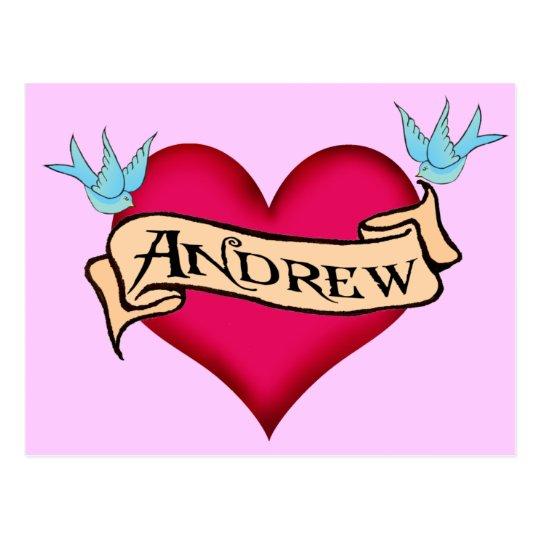 Andrew - Custom Heart Tattoo T-shirts & Gifts Postcard