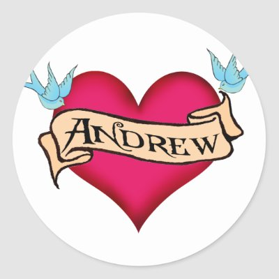 Andrew Custom Heart Tattoo Tshirts Gifts Round Sticker by