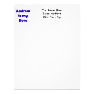 Andrew es mi héroe plantilla de membrete