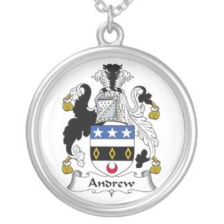 Andrew Family Crest Round Pendant Necklace