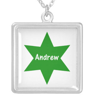 Andrew (green star) square pendant necklace