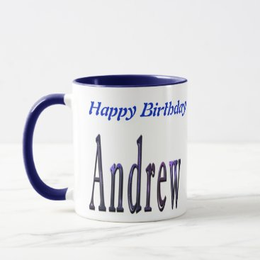 Beach Themed Andrew Happy Birthday Logo, Blue Combo Coffee Mug. Mug