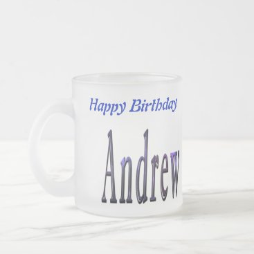 Beach Themed Andrew Happy Birthday Logo, Frosted Beer Mug. Frosted Glass Coffee Mug