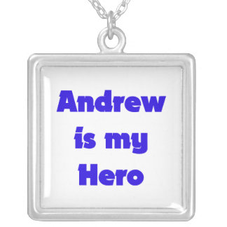 Andrew is My Hero Square Pendant Necklace