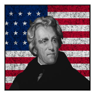 Andrew Jackson and The US Flag -- Border Poster