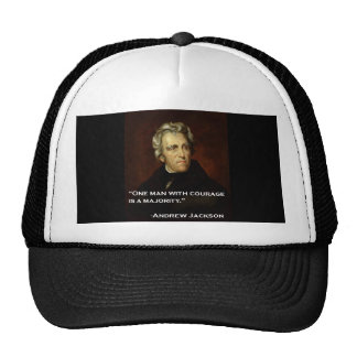 Andrew_Jackson by Sully quote on courage Mesh Hats