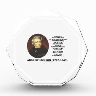 Andrew Jackson Distinctions Exist Under Just Gov't Acrylic Award