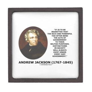 Andrew Jackson Distinctions Exist Under Just Gov't Jewelry Box