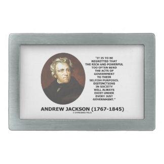 Andrew Jackson Distinctions Exist Under Just Gov't Rectangular Belt Buckle