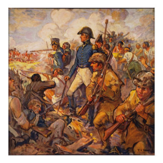 Andrew Jackson durante la batalla de New Orleans Poster