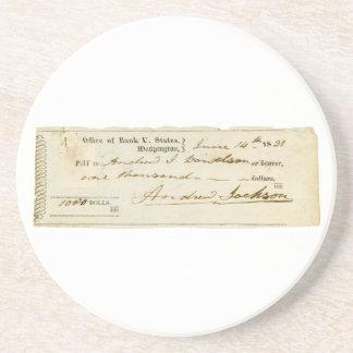 Andrew Jackson firmó el control a partir del 14 de Posavasos Personalizados