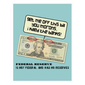 Andrew Jackson I killed the banks Postcard