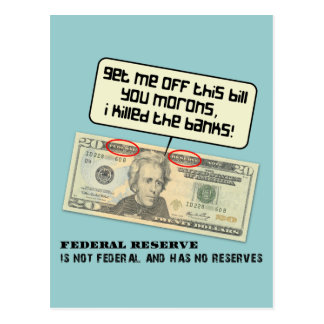 Andrew Jackson I mató a los bancos Tarjetas Postales