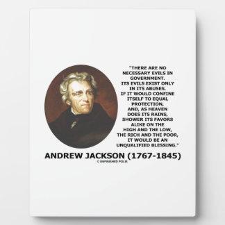 Andrew Jackson ningunos males necesarios en cita Placa Para Mostrar