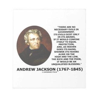 Andrew Jackson No Necessary Evils In Gov't Quote Memo Pad