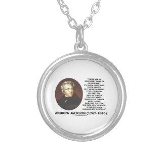 Andrew Jackson No Necessary Evils In Gov't Quote Round Pendant Necklace