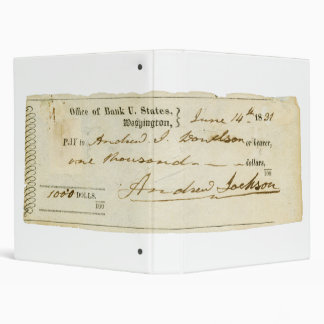 Andrew Jackson Signed Check from June 14th 1831 Binder