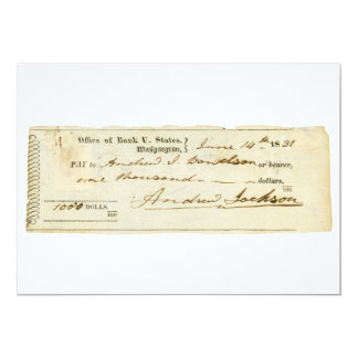 """Andrew Jackson Signed Check from June 14th 1831 5"""" X 7"""" Invitation Card"""