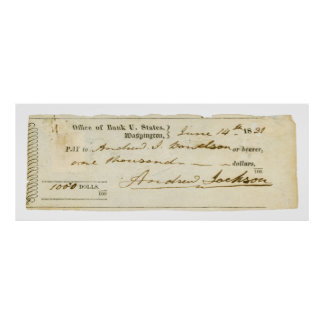 Andrew Jackson Signed Check from June 14th 1831 Print