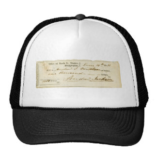 Andrew Jackson Signed Check from June 14th 1831 Trucker Hat