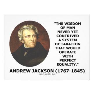 """Andrew Jackson Wisdom Contrive Taxation Equality 8.5"""" X 11"""" Flyer"""
