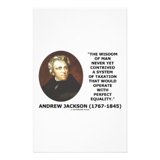 Andrew Jackson Wisdom Contrive Taxation Equality Stationery