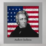 Andrew Jackson y la bandera de los E.E.U.U. Posters