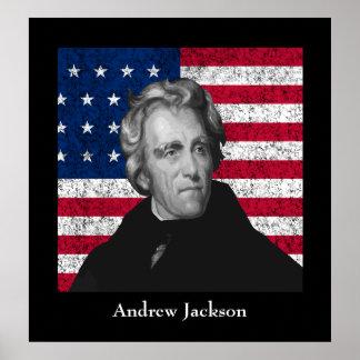 Andrew Jackson y la bandera de los E.E.U.U. Poster