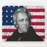 Andrew Jackson y la bandera de los E.E.U.U. Alfombrillas De Raton