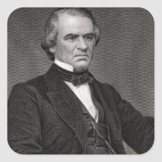 Andrew Johnson, engraved from a photograph by Thom Square Sticker