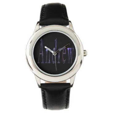 Beach Themed Andrew, Name, Logo, Boys Black Leather Watch. Wristwatch