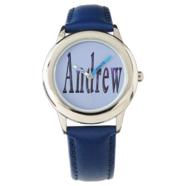 Beach Themed Andrew, Name, Logo, Boys Blue Leather Watch. Wrist Watch