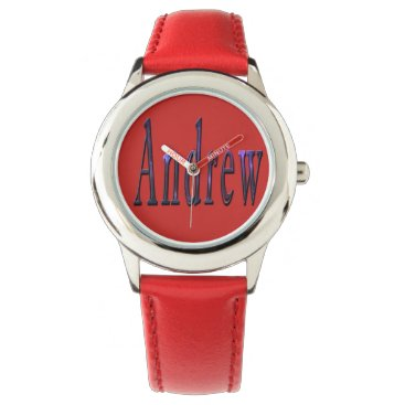 Beach Themed Andrew, Name, Logo, Boys Red Leather Watch. Watch